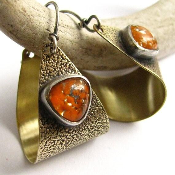 Tangerine Tango Earrings -  Orange Artisan Jewelry -  Vintage Japanese Glass, Sterling Silver And Bronze Hoop Earrings