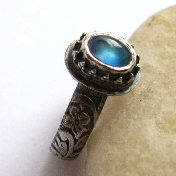 Blue Moonstone Ring - Sterling Silver And Gemstone Ring - Size 6 Ring - Moonstone Jewelry