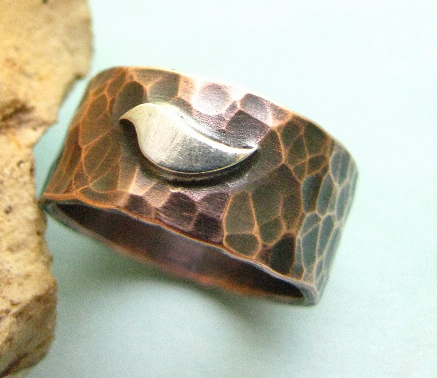 Forged Copper Ring Bird Ring Copper And Sterling Silver