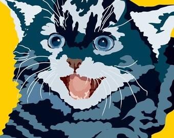 Smiling kitty print, 9 x 12.5
