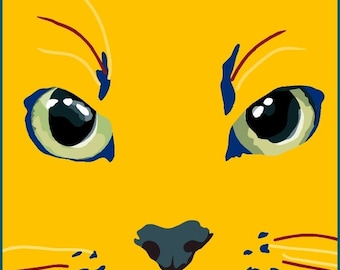 blue and yellow cat