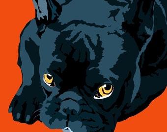 French Bull Terrier print, 9 x 12.5