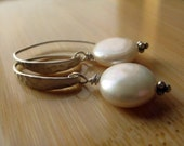 Freshwater Coin Pearls and Matte Hammered Sterling Silver Earwires - Modern Pearl Earrings