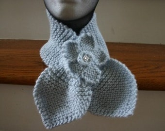 Knitted Flower w/Jeweled Center with Pin Back - (Scarf Sold Separately)