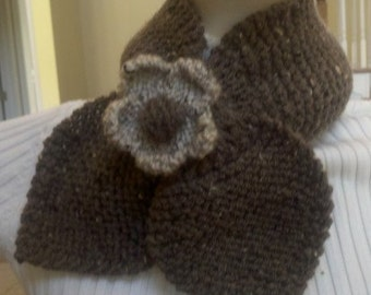 Knitted Flower in Beige and Barley with Pin back - (Scarf Sold Separately)