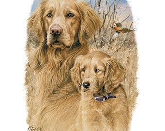 Golden Retriever Dog and Puppy on White Sweatshirt - The Legacy - U Pic Size and Collar - Small to XXLarge