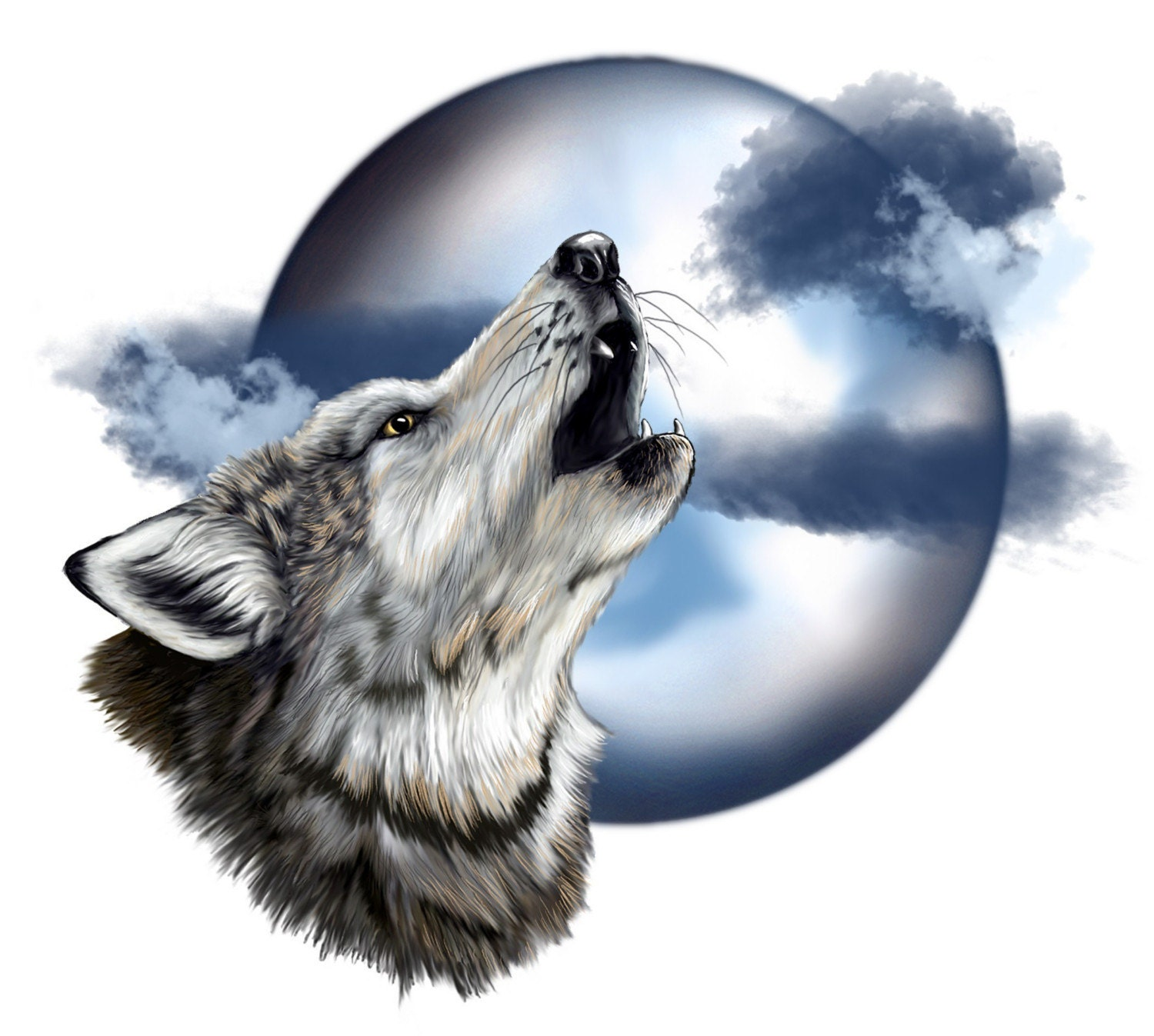 Gorgeous Wolf Head Howling at the Full Moon printed by ...