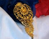 Art Deco Real Gold Dore Hat Pin Paris Street Market 1914 1927 Colsenet Epernay Antique Millinery Hatpin Fascinator Jewel Nemos Nautilus