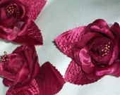 Burgundy Wine Satin With Organdy  Camellia Silk Flower Matching Leaves Stem Premium Clustered Pearl Stames Wired For Corsage Or Brooch