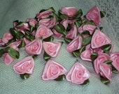 10 Folded Ribbon Roses April In Paris Floribunda Victorian Shabby Vintage Saucy Steampunk Trim Light Pink Hunter