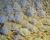 Vintage Lot  Wedding Flowers Handmade Elements Pearl Beaded Appliques Trim Lots 5 Pieces Bridal Shop Destash  B 49