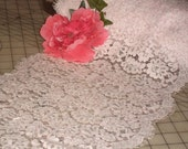 Unusual 11 Inch Wide Pink Linen Chantilly Eyelash Silky Cordinette Panels Flat Lace
