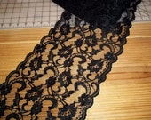 Sailor Moon Chenille Cordinette Black Galloon  9 Inch Wide Flat Lace BTY