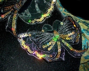 Long Tailed Butterfly Applique Dimensional Black Organza Gold Hologram Sequin