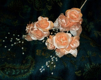 Apricot Roses Flower Stem With Floating Pearl Beaded Spray Premium Wired Satin Pearl Stamens Per Stem
