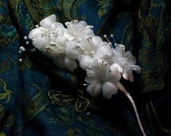Cherry Blossoms Pearl Stamens Spray Off White Weddings Fascinators Cuffs Veil Base Tiara Millinery Trim Flowers
