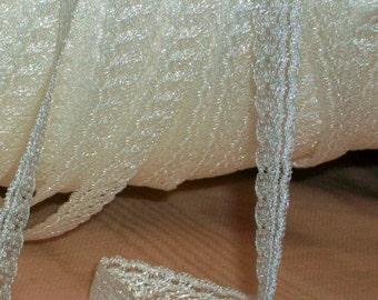 Diminutive Trims For Dolly Children Mom or Lingerie Shiny White Gossamer Nylon Vintage Lace Trim 5 Yard Lots