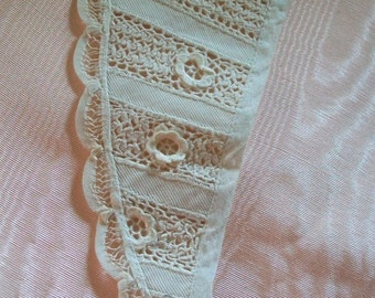 A 425  Old Serge Collar Made With Irish Lace Tape Inserts and Armenian Tape Lace Border