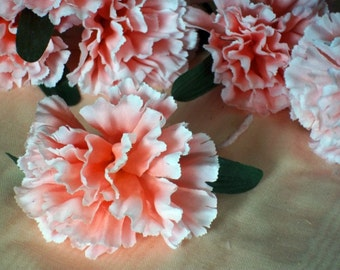 Fresh From Our Garden Millinery Flowers Peachy Pink Hued Carnations Dianthus Boutonniere Corsage Lapel