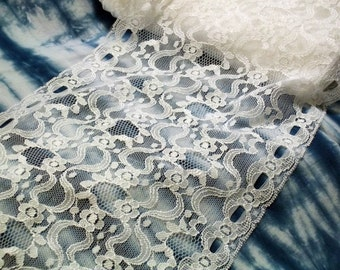 Gorgeous Wedding White Retro 8 Inch Wide Double Entredeux Rachelle Lace Sateen Highlight Floral Swirl BTY