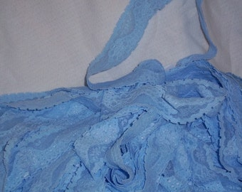 Softest Baby Blue Eyes Sateen Shading Boucle Stretch Lace Trim 1 1/2 Inch Wide Lingerie Elastic 2 Yards