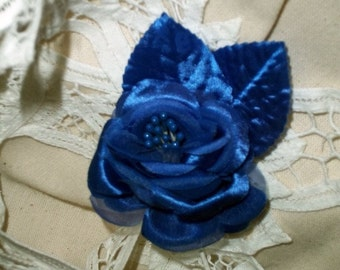 Deep Indigo Sapphire Satin With Organdy  Camellia Silk Paper Flower Matching Leaves Stem Premium Clustered Pearl Stamens Wired For Corsage