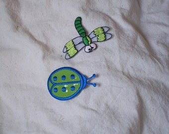 IA 3 Cute Little Bug and Dragonfly Children's Trim  Appliques
