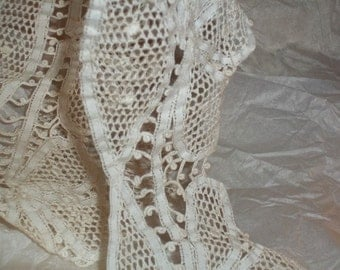 """Vintage Branscombe Pointe Handmade Tape Lace 33"""" and 8"""" L X 4"""" Wide All"""