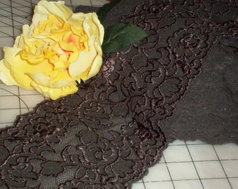 6 Inch WideTriple Chocolate Fudge Nudie Floral Stretch Lace Mesh BTY