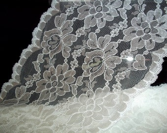 """Ivory Charlotte 10""""  Wide Bridal Lingerie Flat Lace BTY"""