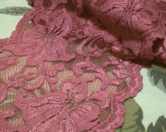 Indulgent 9 Inch Thulian Pink Lilly Elopement Stretch Lace BTY