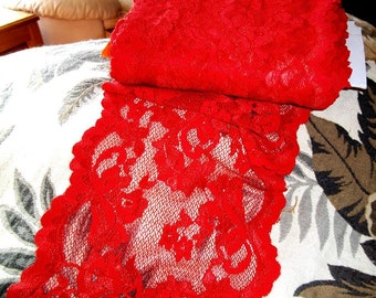 Gorgeous 8 Inch Wide Hoydon Red Hot Mama Stretch Lace