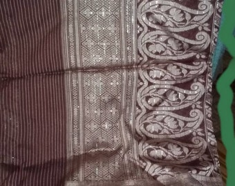 S 48 Sari  Silk Tussah Dance Veil Fabric Silver Rose And Burgundy  Five Plus Yards