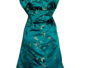 Vintage 1950s Early 1960s Wiggle Dress Cocktail Brocaded Silk Handmade Lined Small Wowza