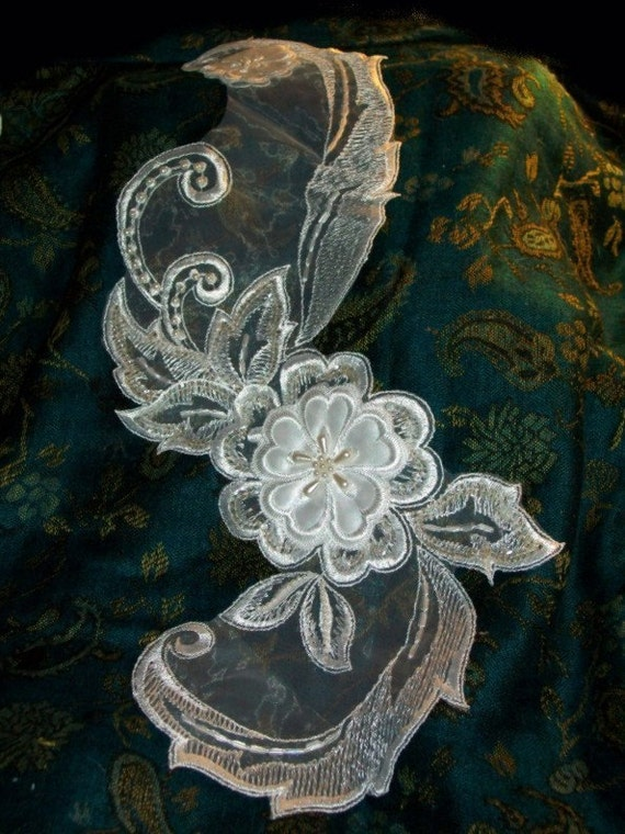 Vintage 1980s Weddings Worlds Biggest Collar Pair or Cathedral Train Appliques Ever Embroidered Organza Iris Sequins Pearl Wings Set