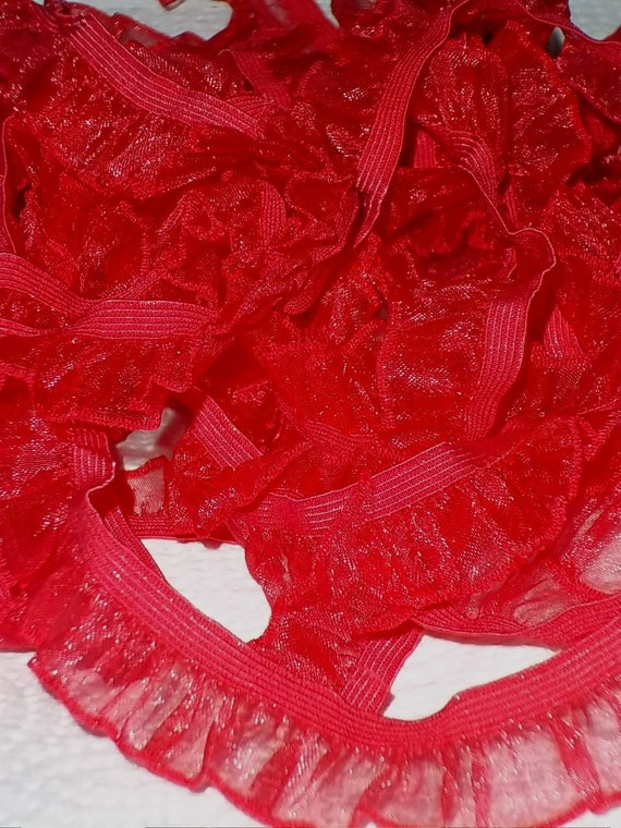 Color Wheel Specialty Stretch Elastic Soft Comfy Sissy Girl Panties Slips Ruffled Lace Edge Crystal Organza Shiny Atomic Red 1 Yard
