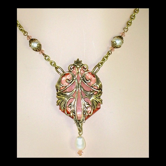 Peach Glass Jewel Brass Filigree and Pearl Necklace