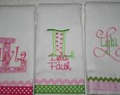 Set of three Embroidered Burp Cloths