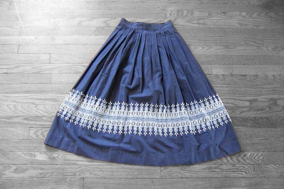 Vintage Chambray Embroided Border Full Skirt
