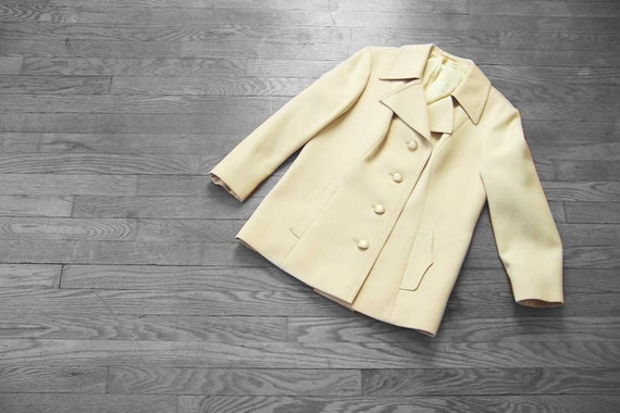 ON RESERVE..................Vintage Pale Yellow Pea Coat