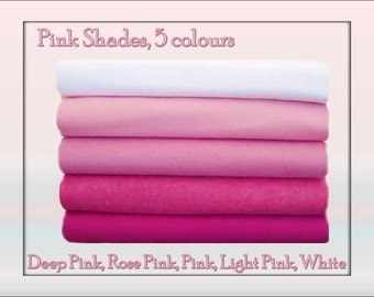 Wool Felt Fabric Squares Pink Shades 10 squares