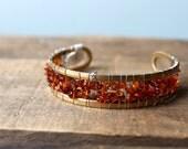 SALE Amber Chip Gold Cuff Bracelet