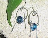 Sterling Silver and Aqua Dangle Earrings