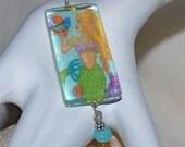 Celeste the Mermaid, Glass Tile Pendant