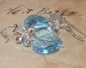 Swarovski Aquamarine Twist and Light Gray Opal 2x AB Crystal Sterling Silver Earrings