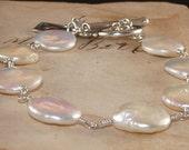 Pearl Bracelet, Coin, Freshwater, Wire Wrapped, Charm, Key, Sterling Silver Bracelet