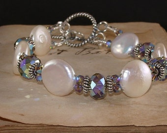 Freshwater Coin Pearl and Swarovski Greige 2X AB Crystal Sterling Silver Bracelet
