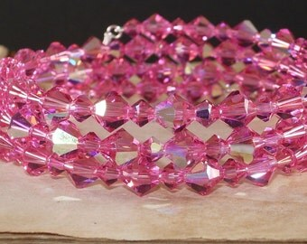 Multi Strand Bracelet,  Swarovski, Crystal,  Memory Wire, Rose, Pink, AB, Handmade Jewelry
