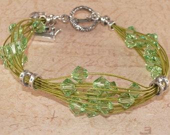 Multi Strand Green Bracelet, Swarovski Crystal, Peridot, Charm, Frog, Crown, Bali, Sterling Silver, Handmade Jewelry