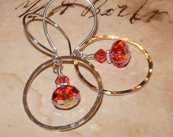 Sterling Hoop Earrings, watermelon, Crystal, Handmade Jewelry
